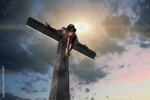 Jesus Christ on the cross, 3d render Fototapete