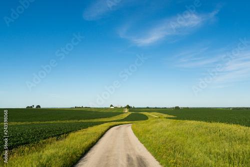Carta da parati Country road in the rural Midwest.  Bureau County, Illinois, USA