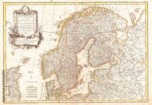 Canvas Print 1762, Janvier Map of Scandinavia, Norway, Sweden, Denmark, Finland