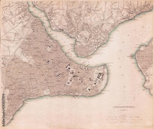 Obraz na plátne 1840, S.D.U.K. Map of Constantinople, Istanbul, Turkey