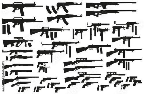Photo Graphic black detailed silhouette pistols, guns, rifles, submachines, revolvers and shotguns