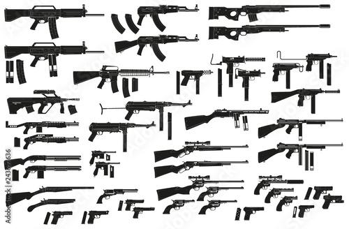 Obraz na plátně Graphic black detailed silhouette pistols, guns, rifles, submachines, revolvers and shotguns