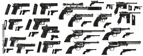 Fotografie, Obraz Graphic black and white detailed silhouette modern and retro pistols and revolvers with ammo clip