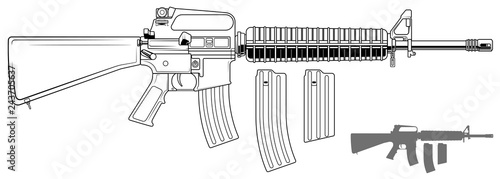 Fotografie, Obraz Graphic black and white detailed modern automatic american assault rifle with ammo clip