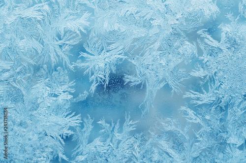Obraz na płótnie Abstract frosty pattern on glass, background texture