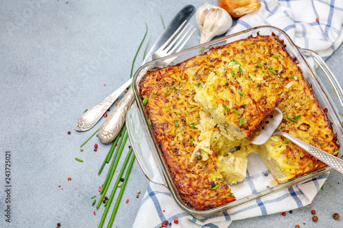 Homemade potato kugel is a dish of jewish cuisine.