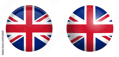 Wallpaper Mural British Union Jack flag under 3d dome button and on glossy sphere / ball