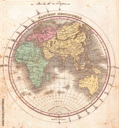 1827, Finley Map of the Eastern Hemisphere, Asia, Australia, Europe, Africa, Anthony Finley mapmaker of the United States in the 19th century