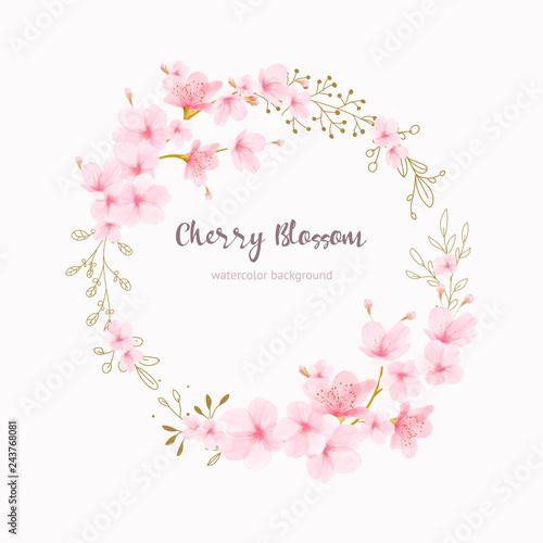 Vászonkép Cherry blossom frame Floral watercolor