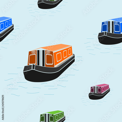 Editable Flat Three-Quarter Top Front Side Oblique View Canal Boat on Water Vect Fototapeta