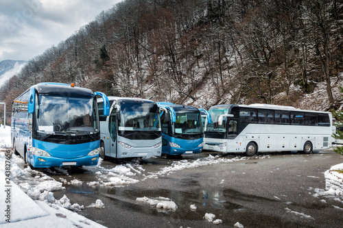 Intercity buses parked near the mountain forest at winter