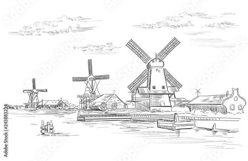 Vector hand drawing Holland 2 Fototapeta