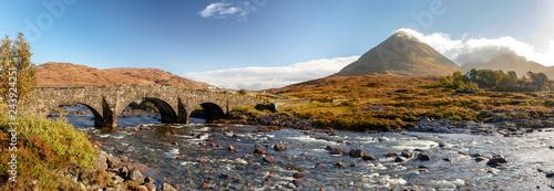 Scotland, Isle of Skye - panoramic view of Sligachan Bridge and Cuillin Mountain Fototapeta