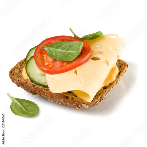 Open faced sandwich crostini isolated on white background closeup. Vegetarian canape with cheese. Appetizer tartarine.