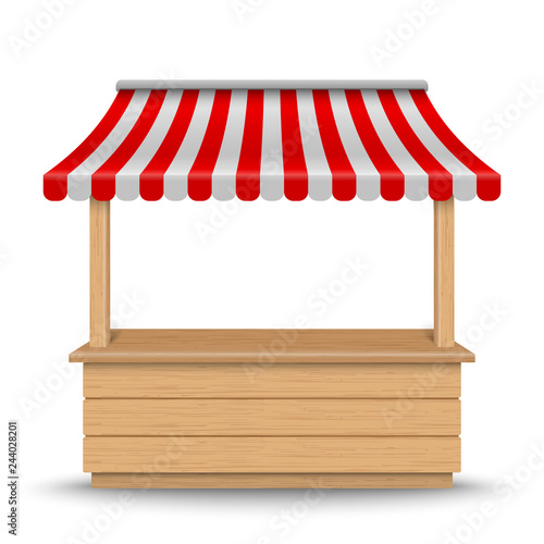 Fotografie, Obraz Wooden market stand stall