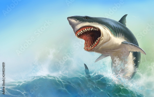 Canvas Print Great White Shark Body on beck