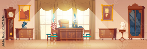 Carta da parati White House oval cabinet interior cartoon vector with vintage work desk and furniture, national flag, paintings on wall illustration