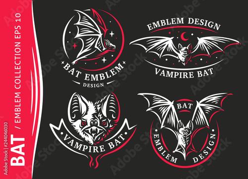 Cuadros en Lienzo Bat vampire collection - vector illustration, logo, emblem, print design