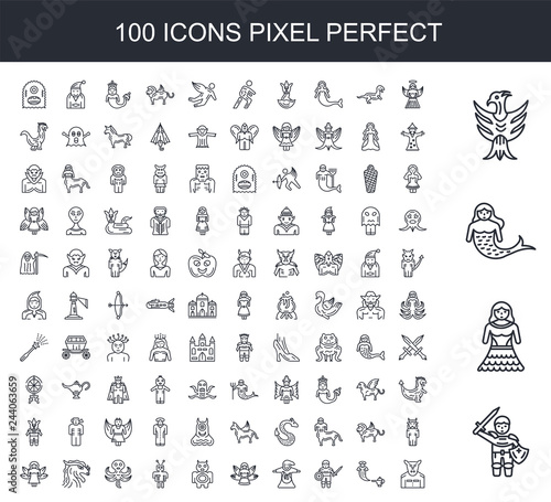 Obraz na plátně 100 line icon set
