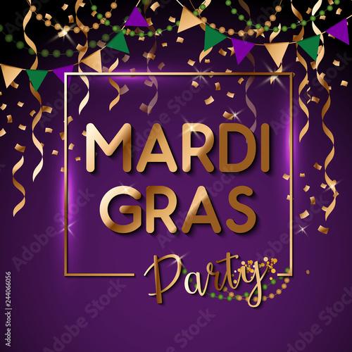Fotografiet Mardi Gras gold glitter text with sparkles