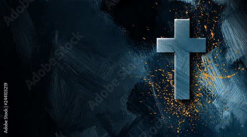 Fotografering Christian cross with golden paint splatter graphic background