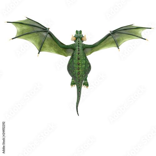 Fototapeta premium kreskówka zielony smok na białym tle