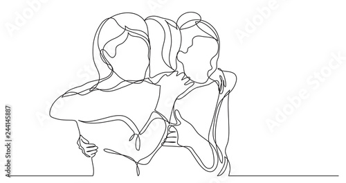 Canvas Print three female friends greeting hugging each other - one line drawing
