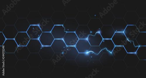 Fotografiet electric lightning honeycomb background