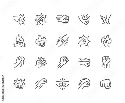 Photo Simple Set of Fight Related Vector Line Icons