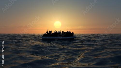 Obraz na plátně Profughi su un grande gommone in mezzo al mare che richiedono aiuto