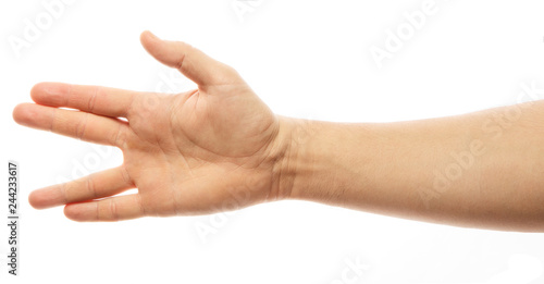 Fotografia A man hand doing the Vulcan salute on a white background