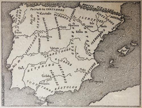 Photo Badajoz, Spain - Jan 6th, 2019: Pre-Roman peoples map of the Iberian Peninsula