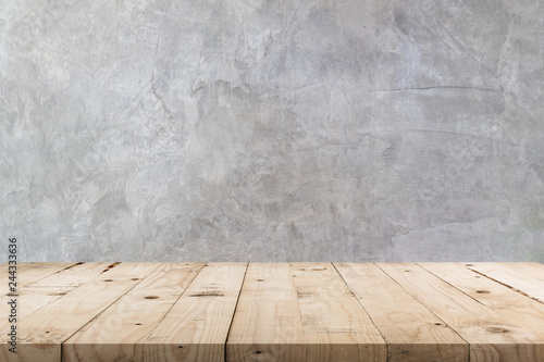 Slika na platnu Empty wooden table and  concrete  wall texture and background with copy space, display montage for product