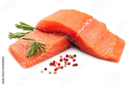 Fotografia fillet of red fish salmon with rosemary isolated on white background