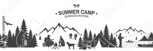 Slika na platnu Summer camp seamless pattern. Vector illustration.