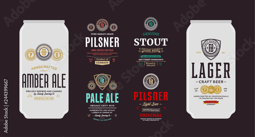 Canvas Print Vector beer labels and can mockups