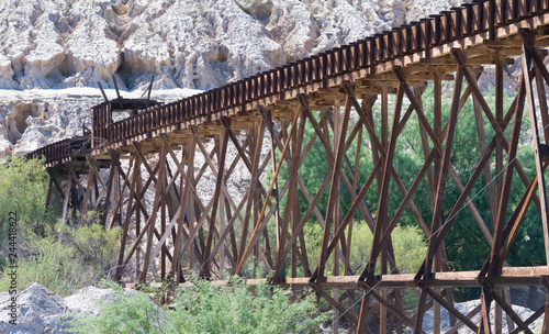 Photo Wooden railroad trestle for the use of copper ore transport