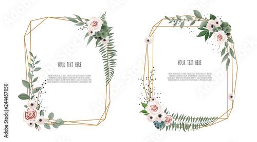 Fotografia, Obraz Vector floral botanical card design with leaves with geometrical frame