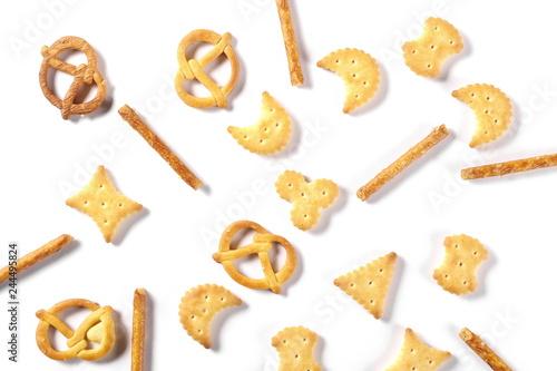 Salty cracker pretzel party mix isolated on white background, top view Tapéta, Fotótapéta