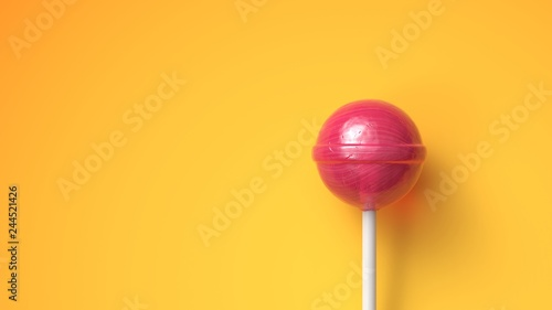 Fotografia Sweet lollipop on bright yellow background with copy space