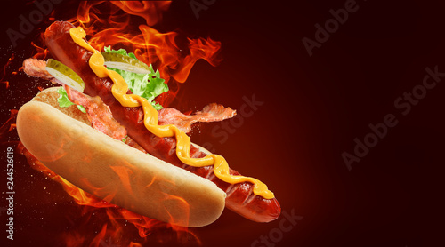 Fotografie, Obraz hot dog with big sausage and mustard on fire background