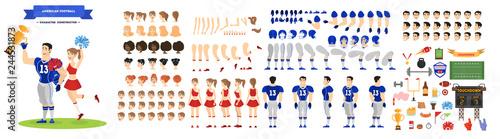 Photo American football player and cheerleader character set