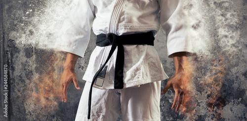 Guy poses in white kimono with black belt.