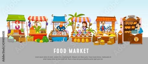 Fotografie, Obraz Food market cartoon banner concept