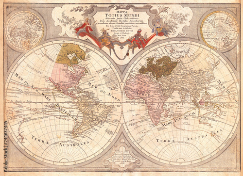 1775, Lotter Map of the World on a Hemisphere Projection