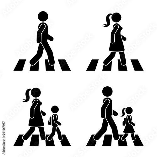 Tablou Canvas Stick figure walking pedestrian vector icon pictogram