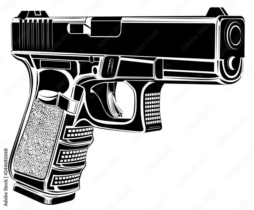 Pistol Glock gun vector illustration. 9 caliber. Pistol emblem logo. <span>plik: #244682668   autor: vakabungo</span>