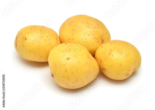 Potatoes vegetable isolated on white background. Flat lay, top view
