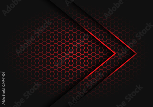 Canvas Print Abstract red arrow light shadow direction on hexagon mesh pattern design modern futuristic background vector illustration