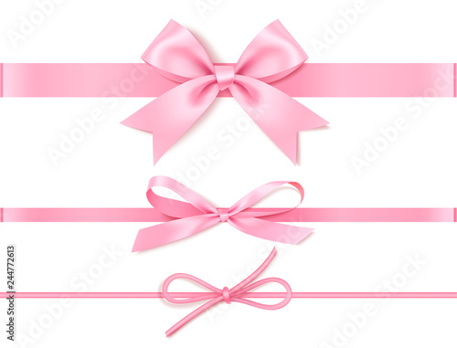 Photo Set of decorative pink bow with horizontal pink ribbon for gift decor